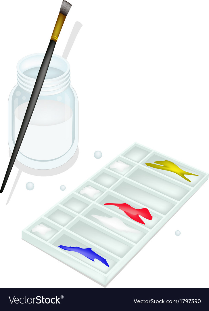 Color paint in whtie plastic palette with brushes vector | Price: 1 Credit (USD $1)