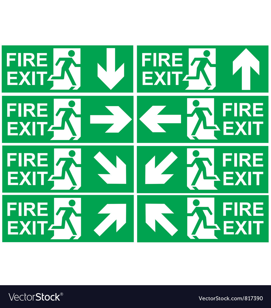 Fire exit signs vector | Price: 1 Credit (USD $1)