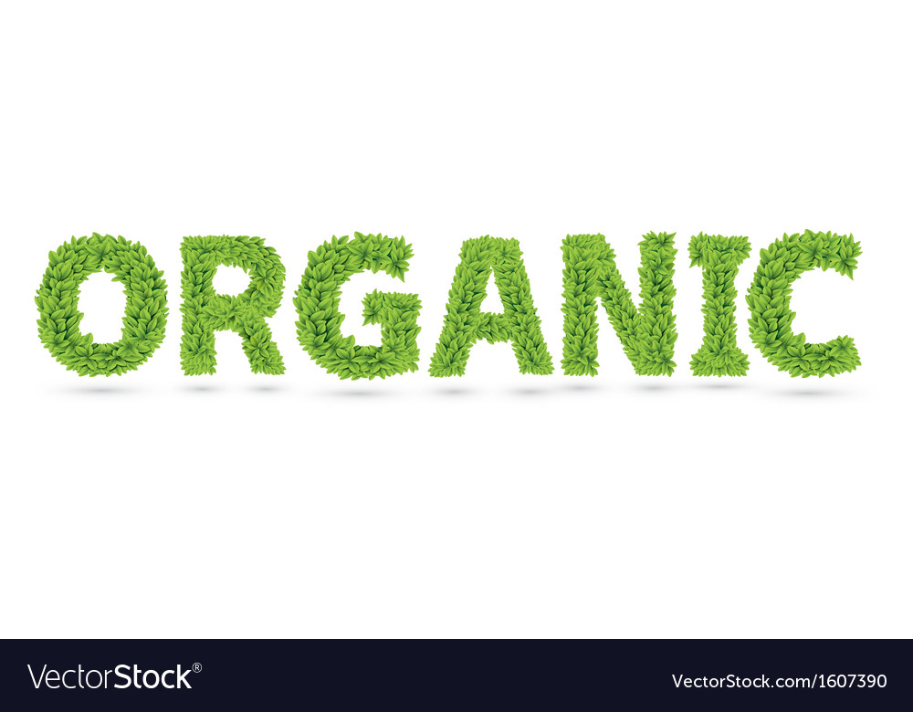 Organic word made of green leafs vector | Price: 1 Credit (USD $1)