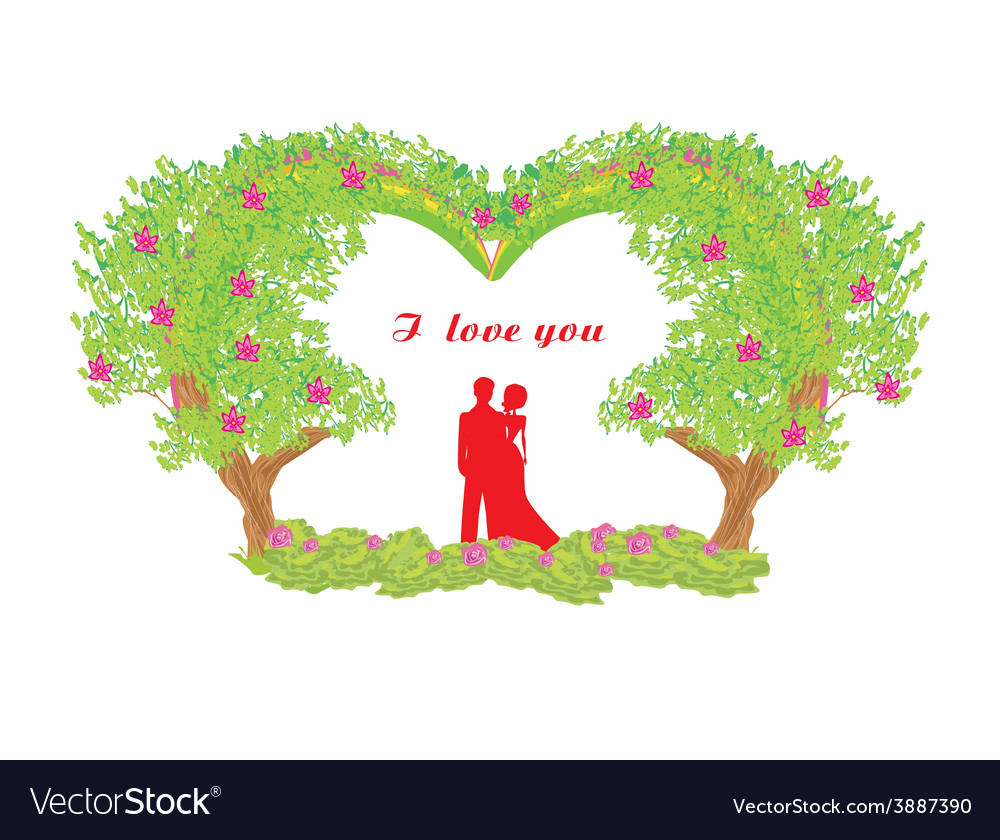 Silhouette of romantic couple vector | Price: 1 Credit (USD $1)