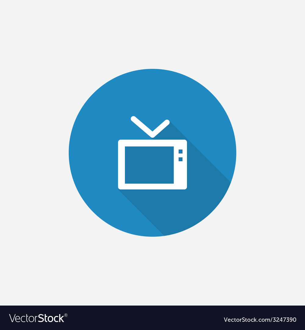 Tv flat blue simple icon with long shadow vector | Price: 1 Credit (USD $1)