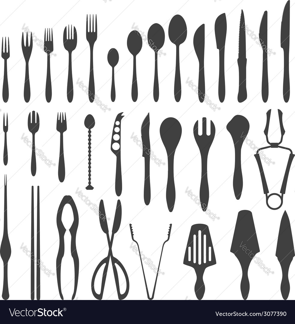 Various cutlery silhouette set vector