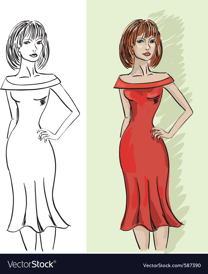 Woman sketch vector | Price: 1 Credit (USD $1)