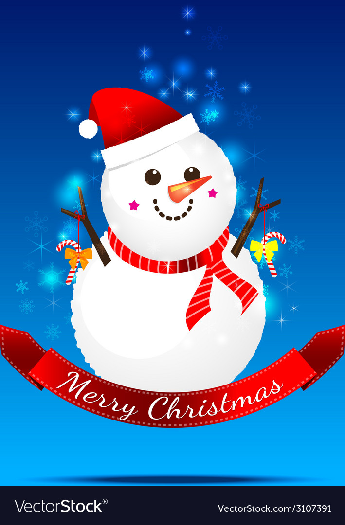 Christmas snow man on the dark blue background vector | Price: 1 Credit (USD $1)