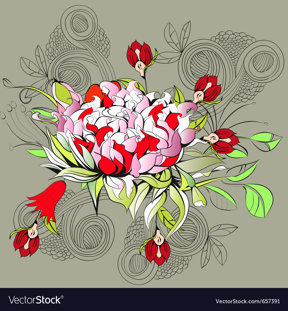Decorative background with peony flower vector | Price: 1 Credit (USD $1)