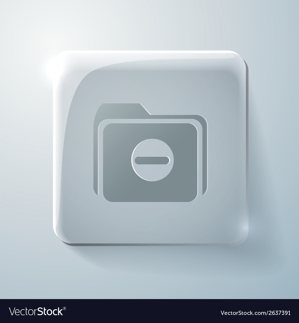 Glass square icon folder for documents vector | Price: 1 Credit (USD $1)