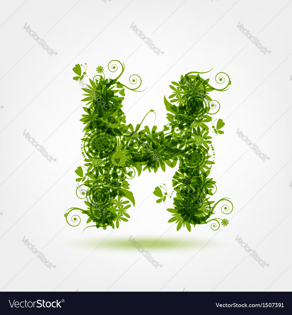 Green eco letter h for your design vector | Price: 1 Credit (USD $1)