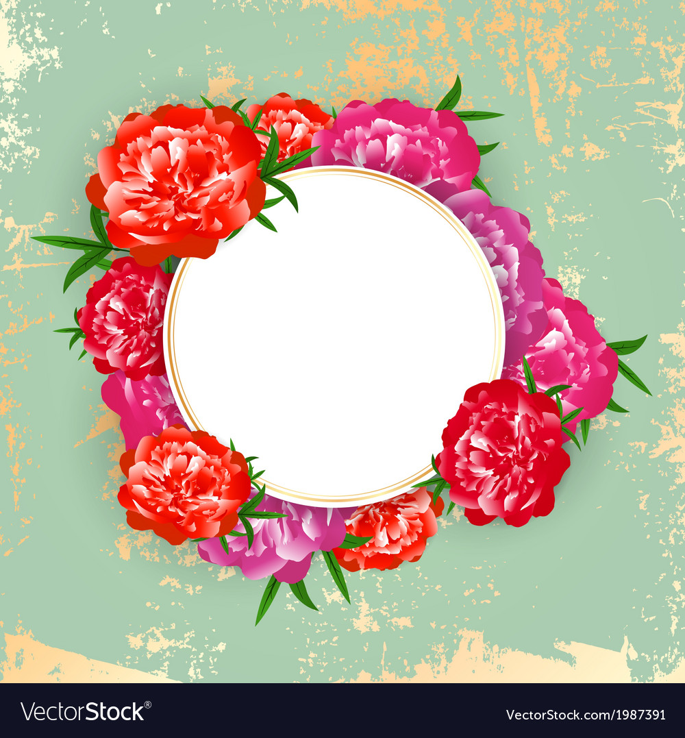Peony round frame vector | Price: 1 Credit (USD $1)