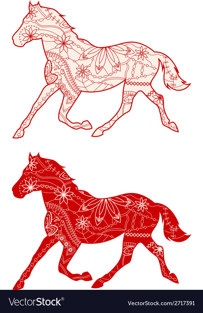 Set of red horses vector | Price: 1 Credit (USD $1)