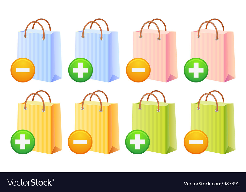 Shopping bags and button vector | Price: 1 Credit (USD $1)