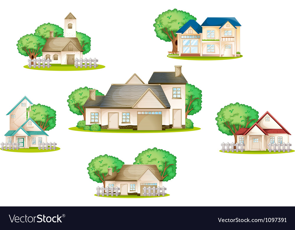 Various houses vector | Price: 3 Credit (USD $3)