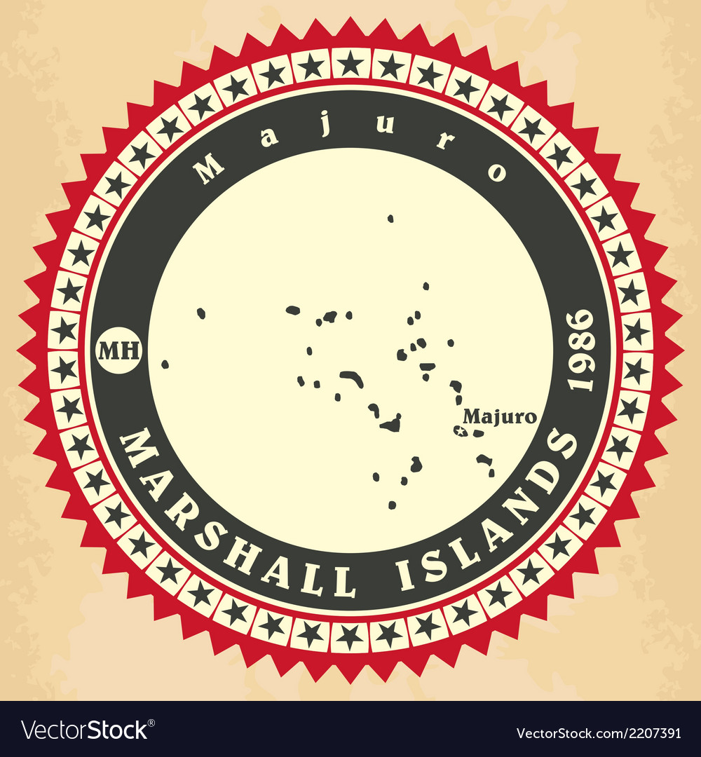 Vintage label-sticker cards of marshall islands vector | Price: 1 Credit (USD $1)