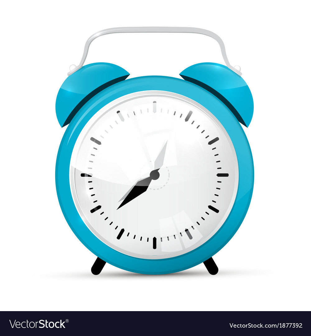 Blue alarm clock isolated on white background vector | Price: 1 Credit (USD $1)