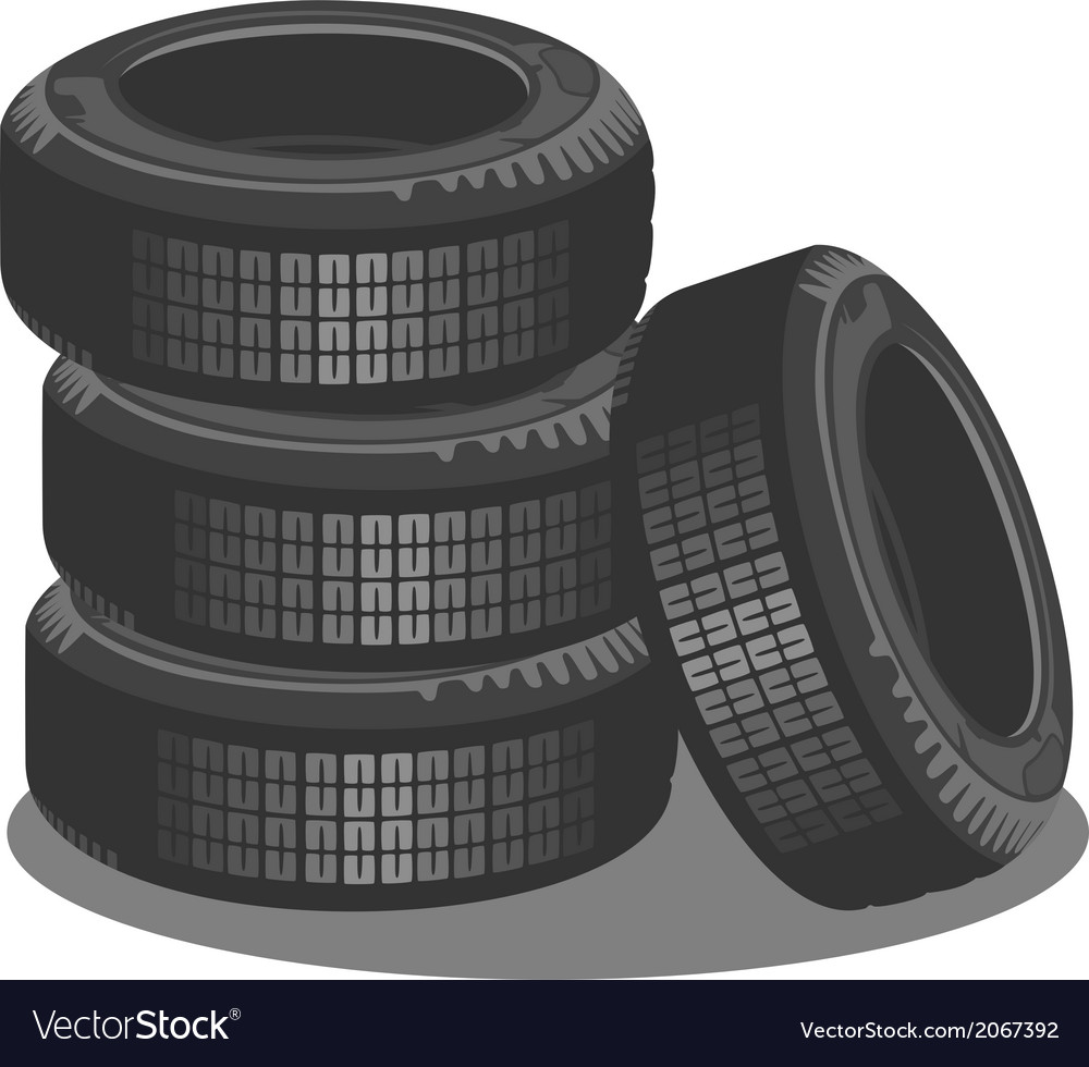 Brand new tires on white background vector | Price: 1 Credit (USD $1)