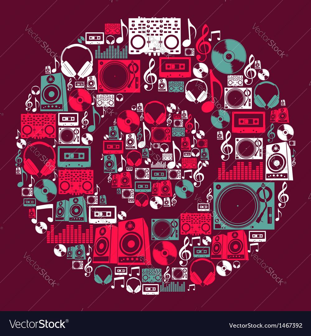 Dj music icons disc vector | Price: 1 Credit (USD $1)