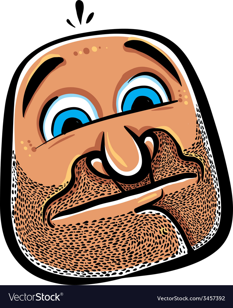 Funny cartoon face with stubble vector | Price: 1 Credit (USD $1)