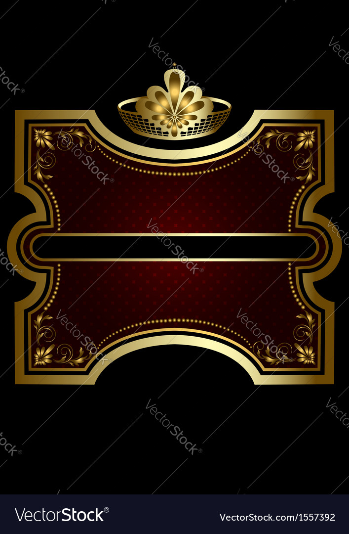 Gold frame with shiny burgundy background vector | Price: 1 Credit (USD $1)