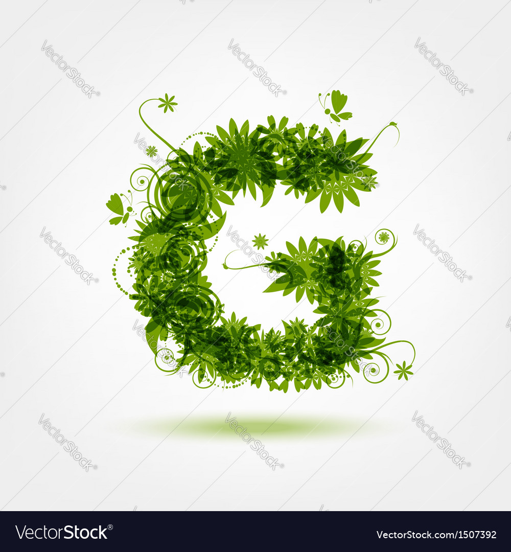 Green eco letter g for your design vector | Price: 1 Credit (USD $1)