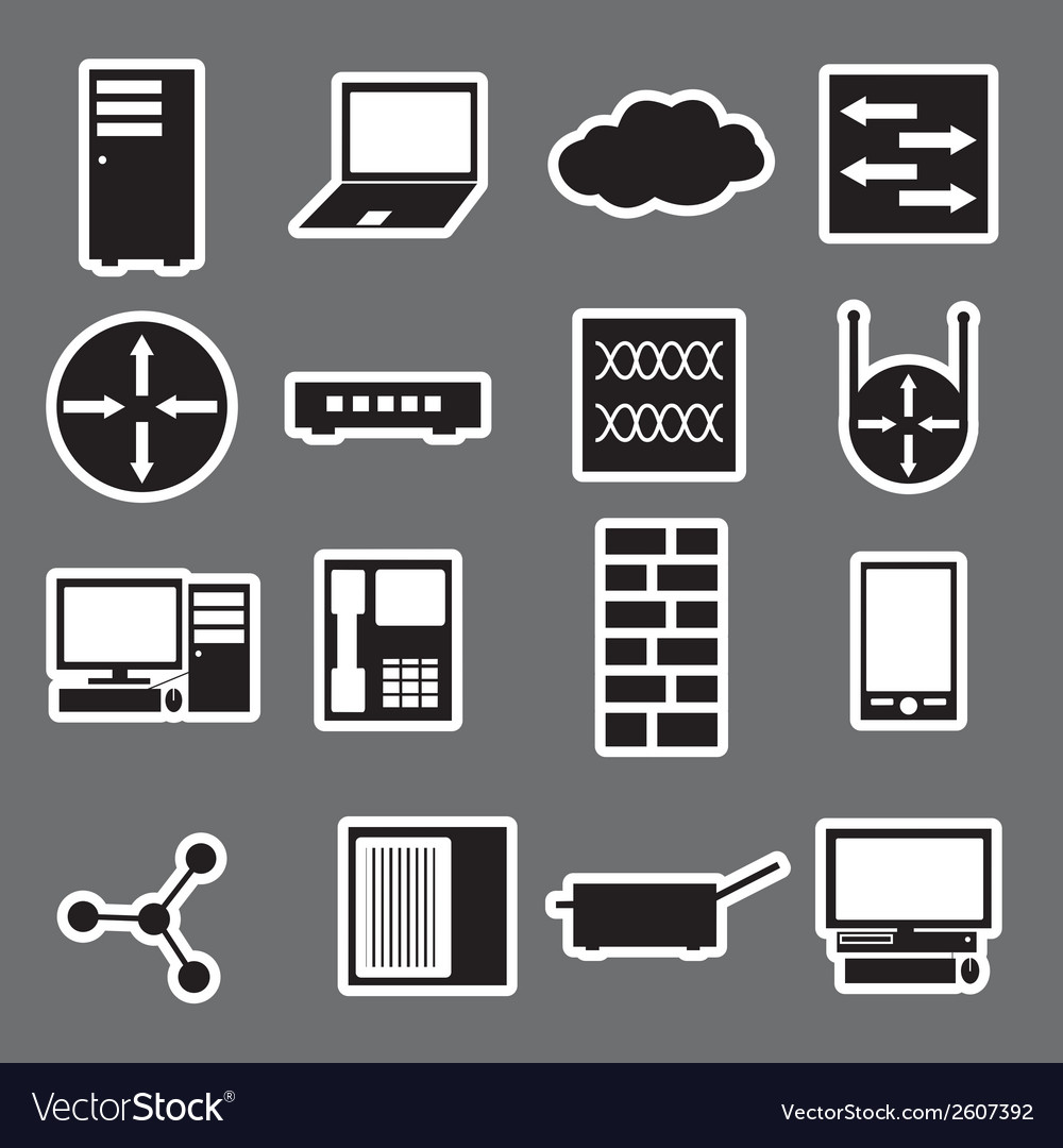Network icon stickers collection eps10 vector | Price: 1 Credit (USD $1)
