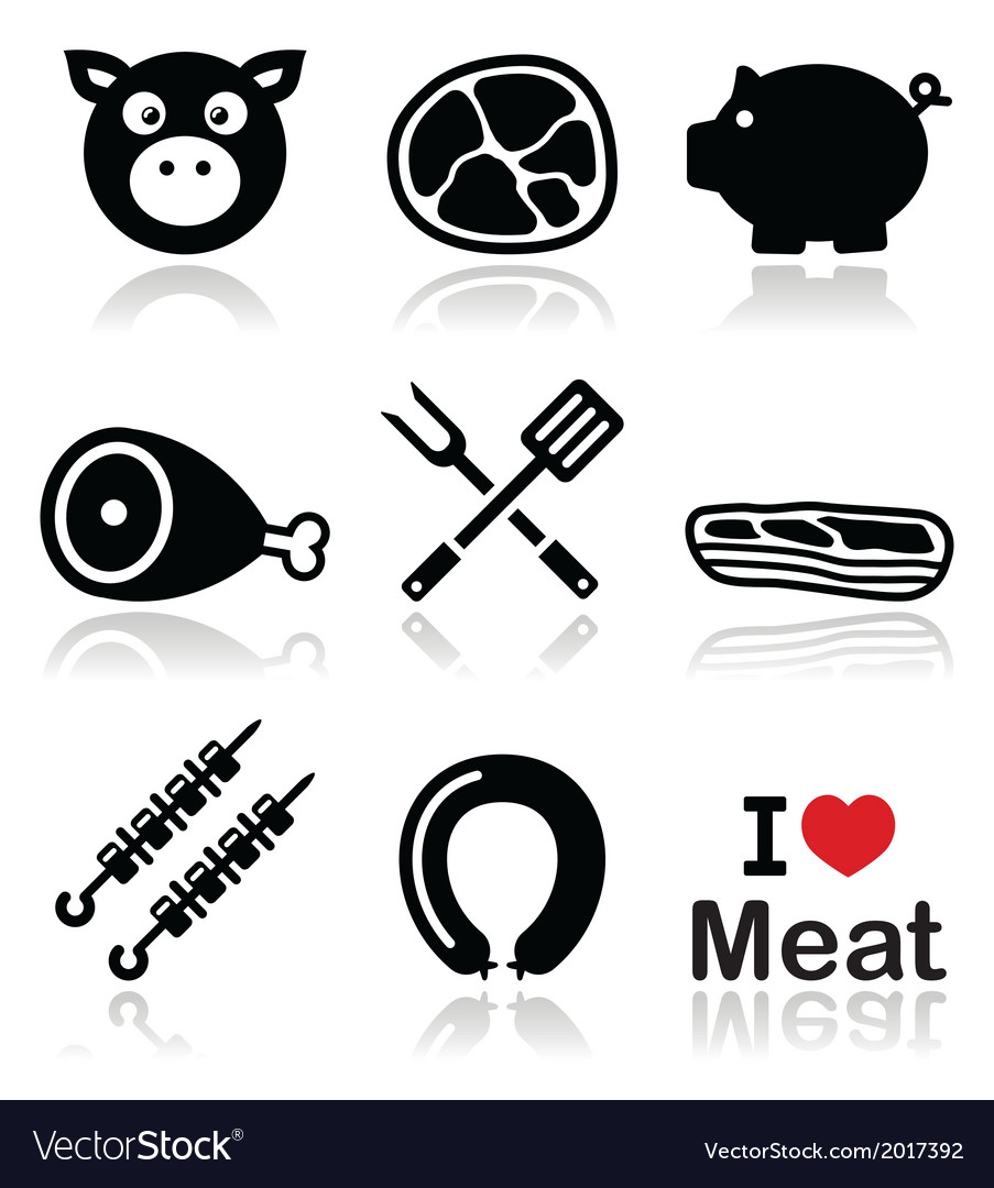 Pig pork meat - ham and bacon icons set vector | Price: 1 Credit (USD $1)