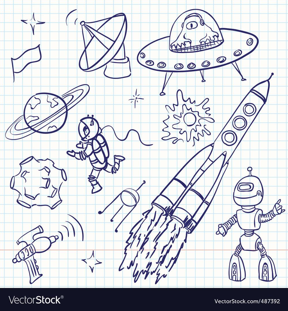 Space doodles vector | Price: 1 Credit (USD $1)