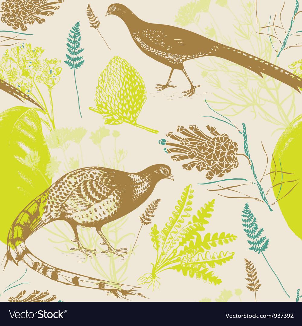 Vintage birds wilderness pattern vector | Price: 1 Credit (USD $1)