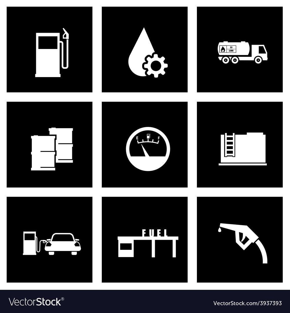Black gas station icon set vector | Price: 1 Credit (USD $1)