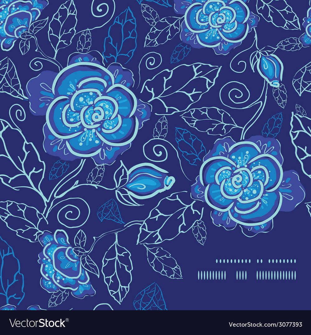 Blue night flowers frame corner pattern background vector | Price: 1 Credit (USD $1)