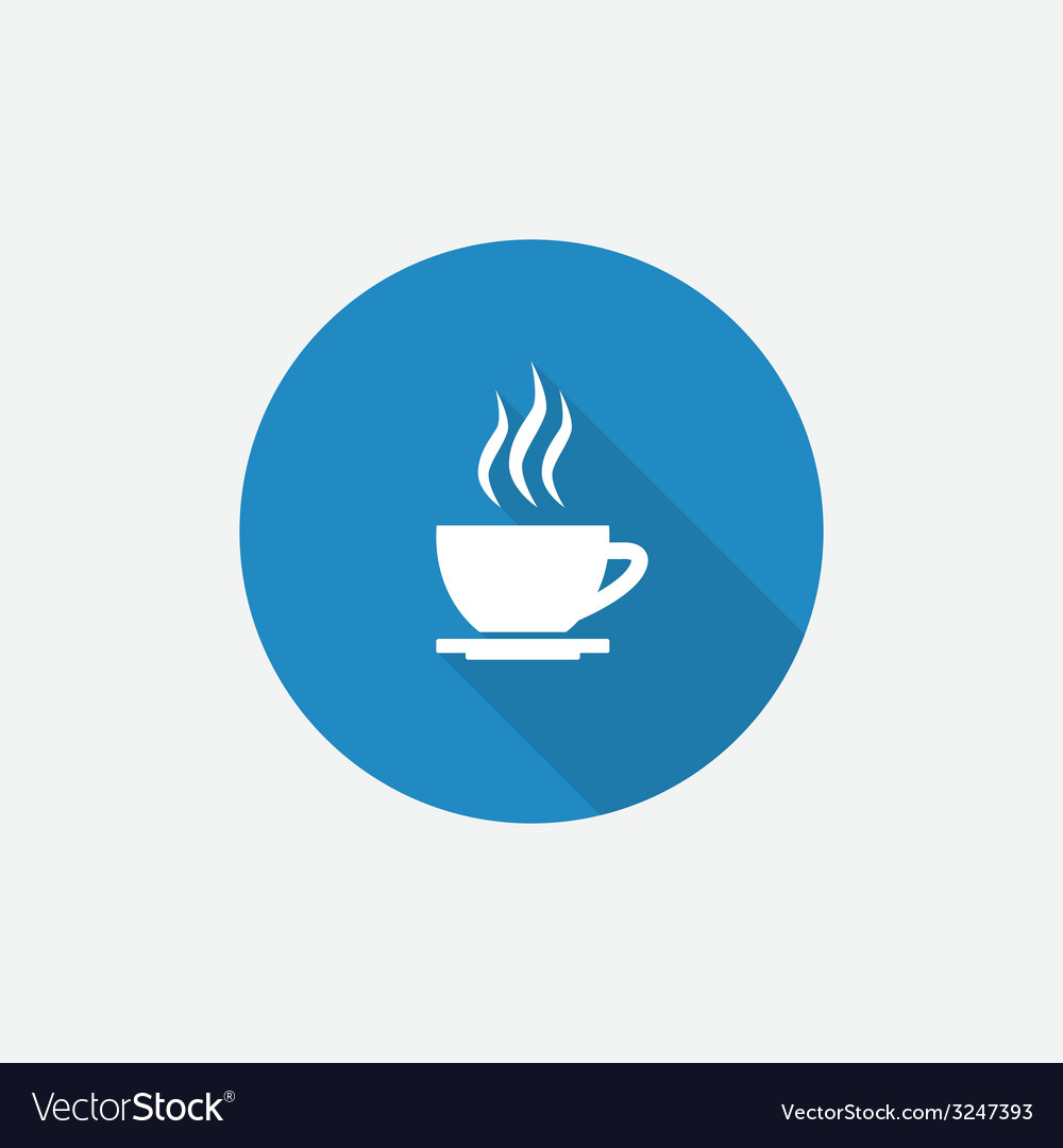 Cap of tea flat blue simple icon with long shadow vector | Price: 1 Credit (USD $1)