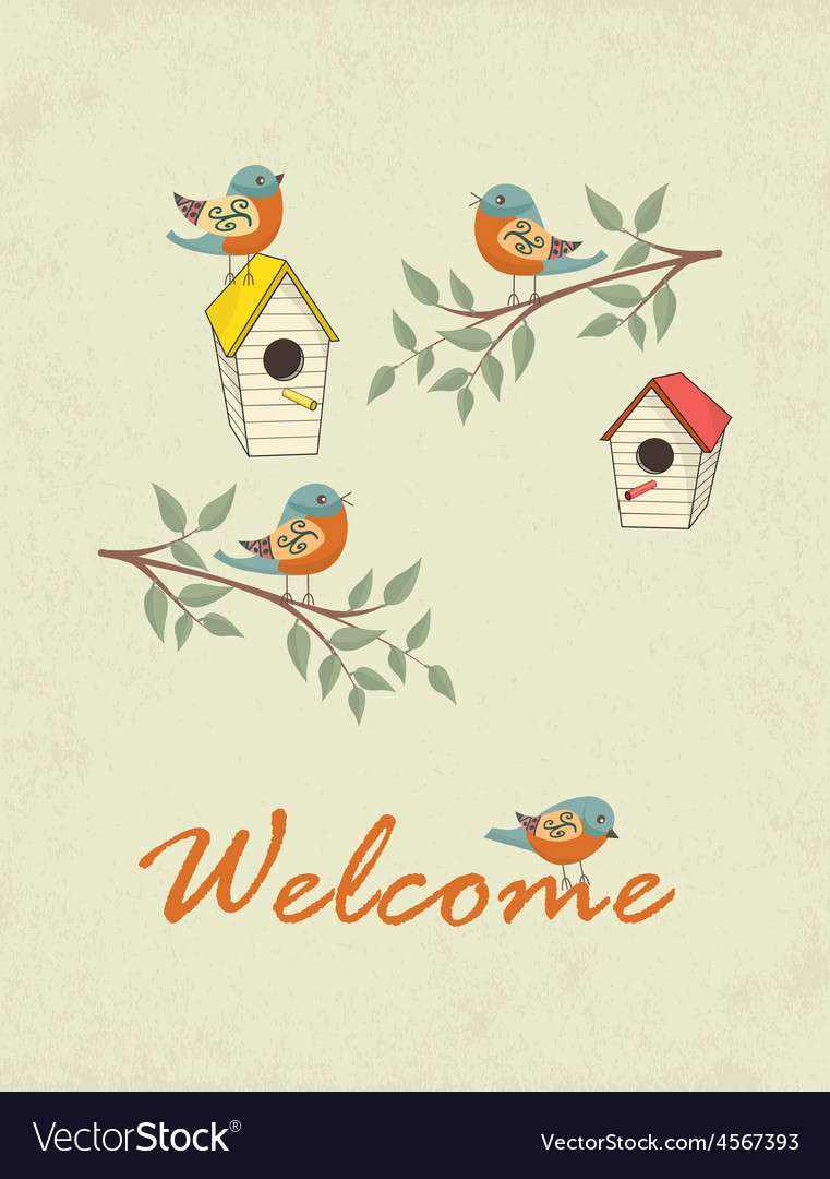Card with bird house vector | Price: 1 Credit (USD $1)