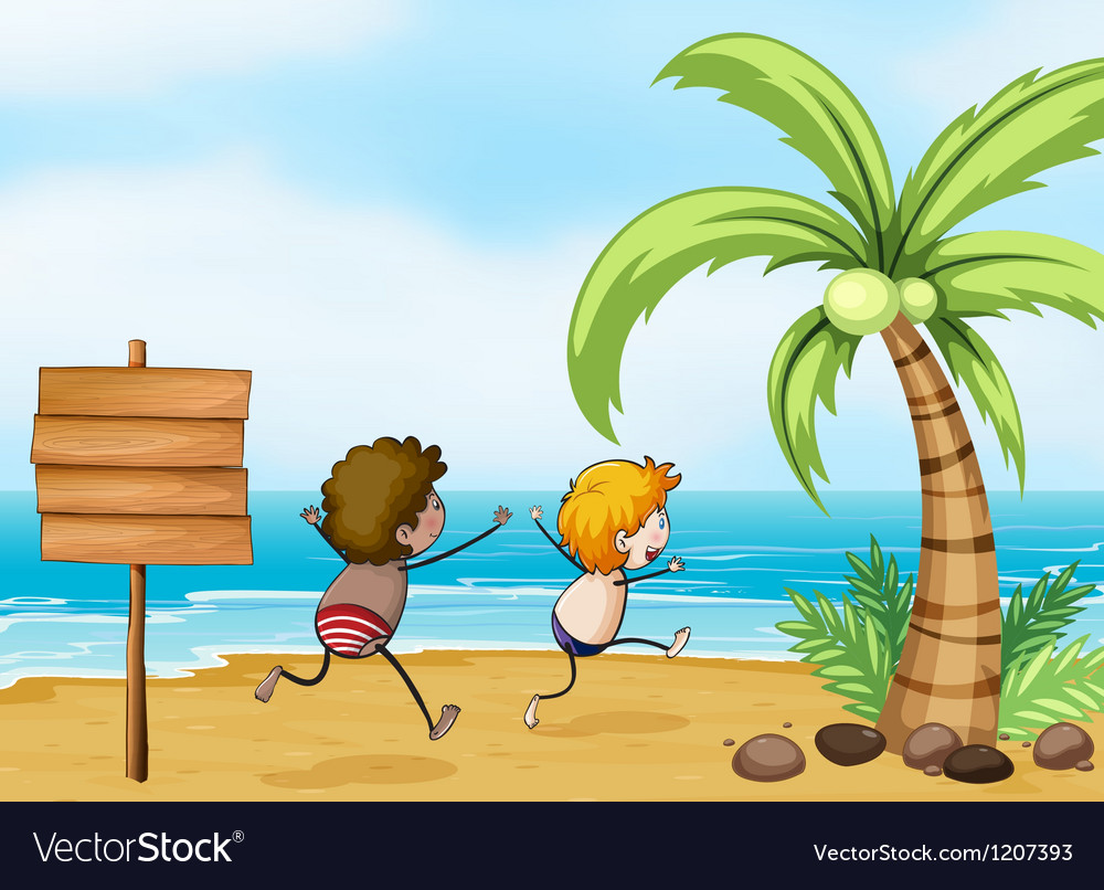 Children having fun at the beach vector | Price: 1 Credit (USD $1)