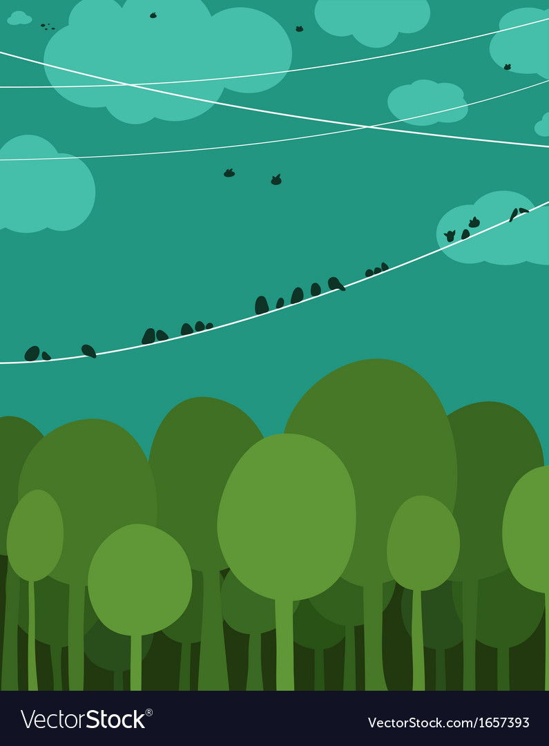 Forest and birds sitting on wires graphic design vector | Price: 1 Credit (USD $1)