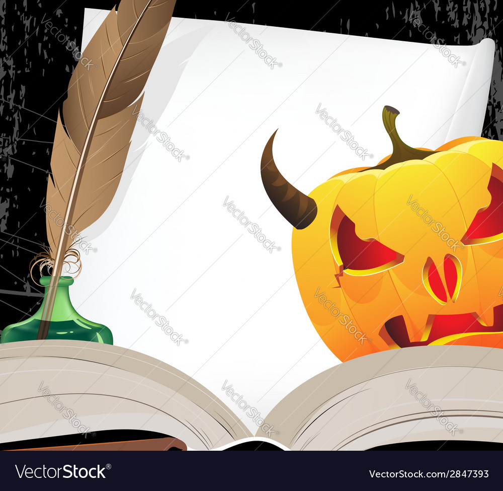 Horned jack o lantern and open ancient book vector | Price: 1 Credit (USD $1)