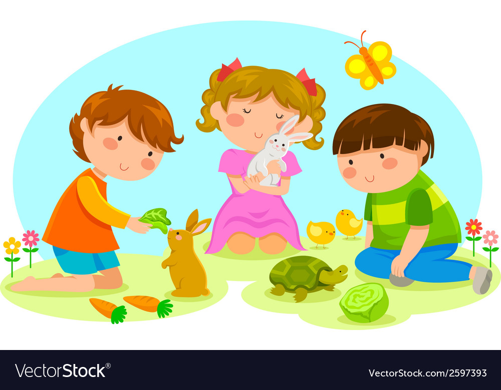 Kids and animals vector | Price: 1 Credit (USD $1)