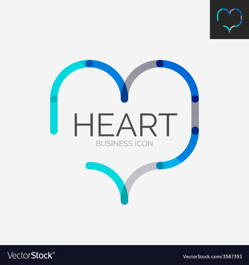 Minimal line design logo heart icon vector | Price: 1 Credit (USD $1)