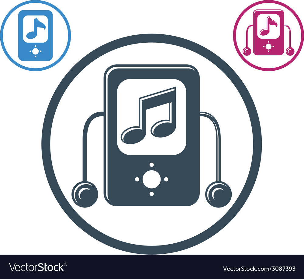 Mp3 player round icon isolated single color music vector | Price: 1 Credit (USD $1)