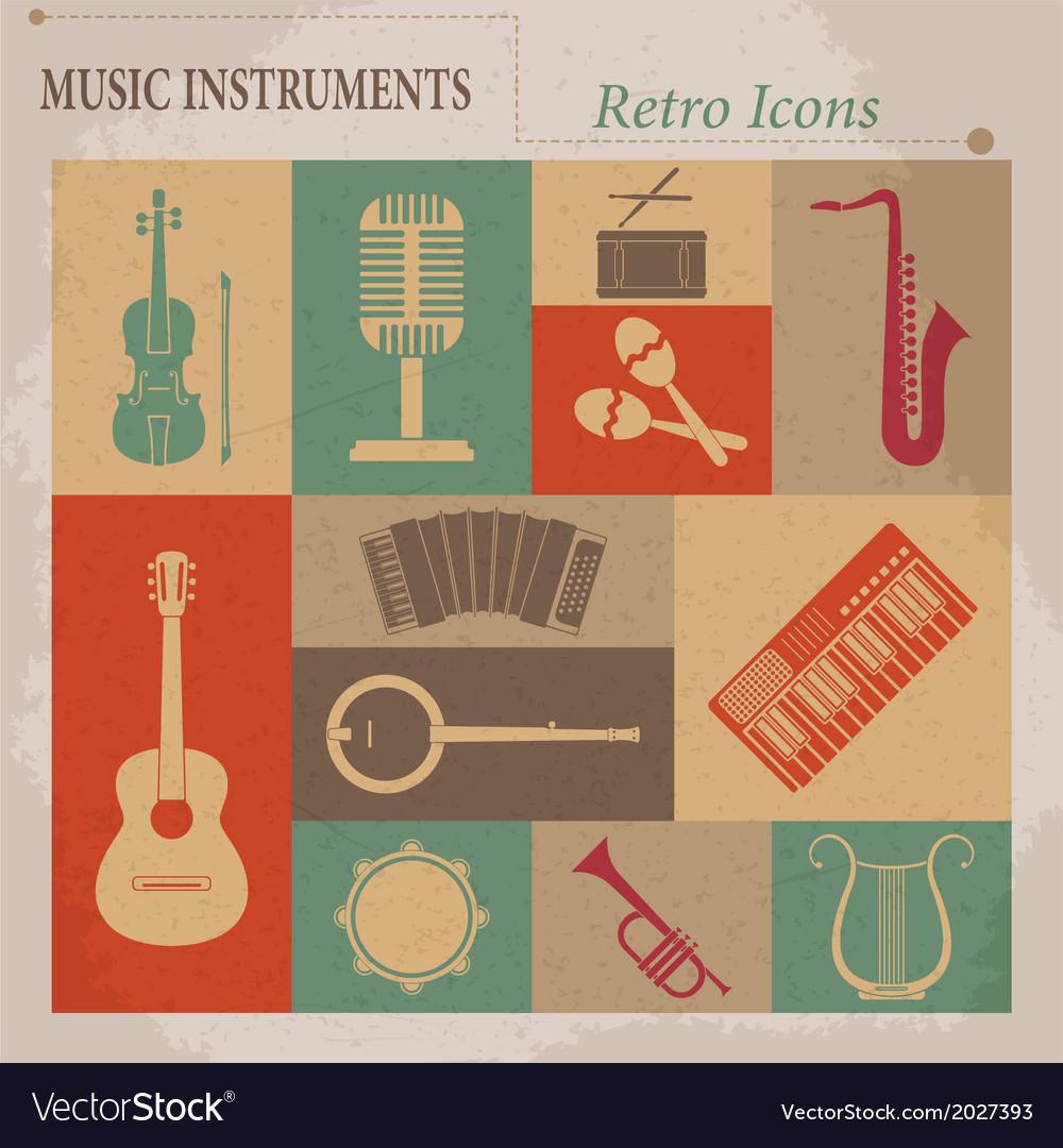 Musical equipment retro icons vector