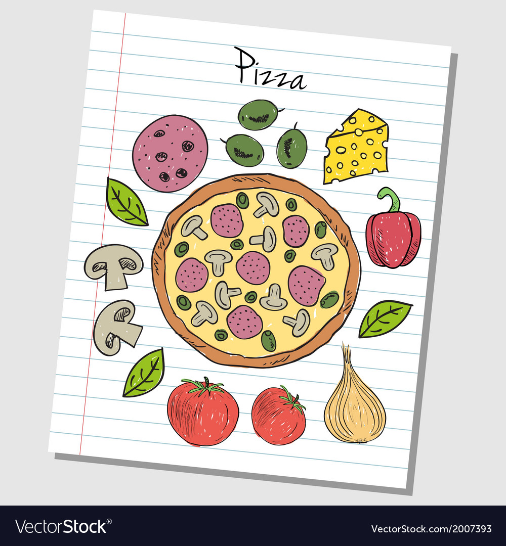 Pizza doodles lined paper colored vector | Price: 1 Credit (USD $1)