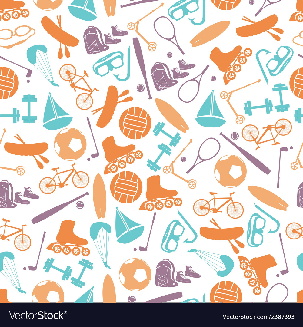 Summer sports and equipment color pattern eps10 vector | Price: 1 Credit (USD $1)
