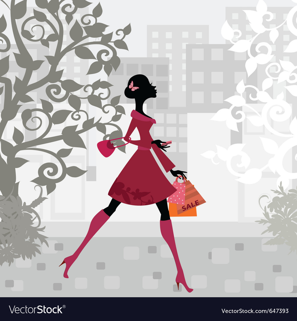 Urban shopping girl vector | Price: 1 Credit (USD $1)