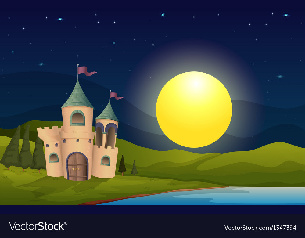 A castle in the middle of the hill vector | Price: 1 Credit (USD $1)
