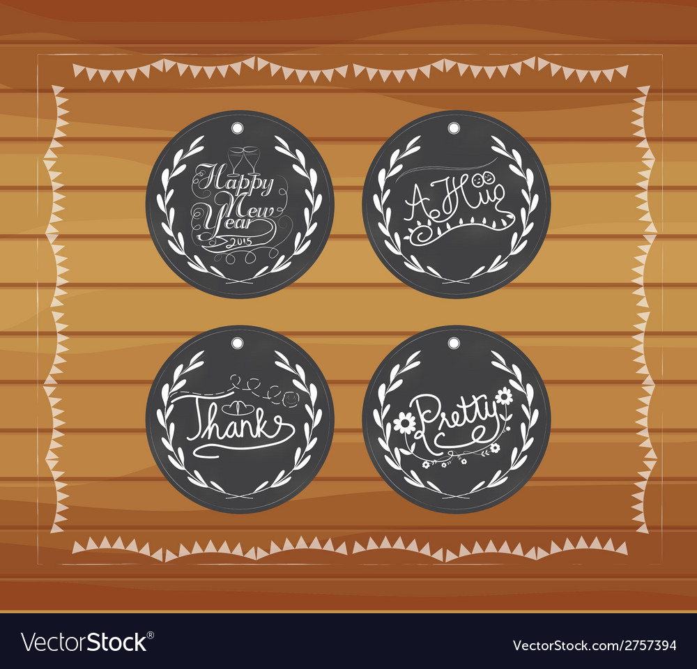 Chalkboard gift tags hand drawn vintage vector | Price: 1 Credit (USD $1)