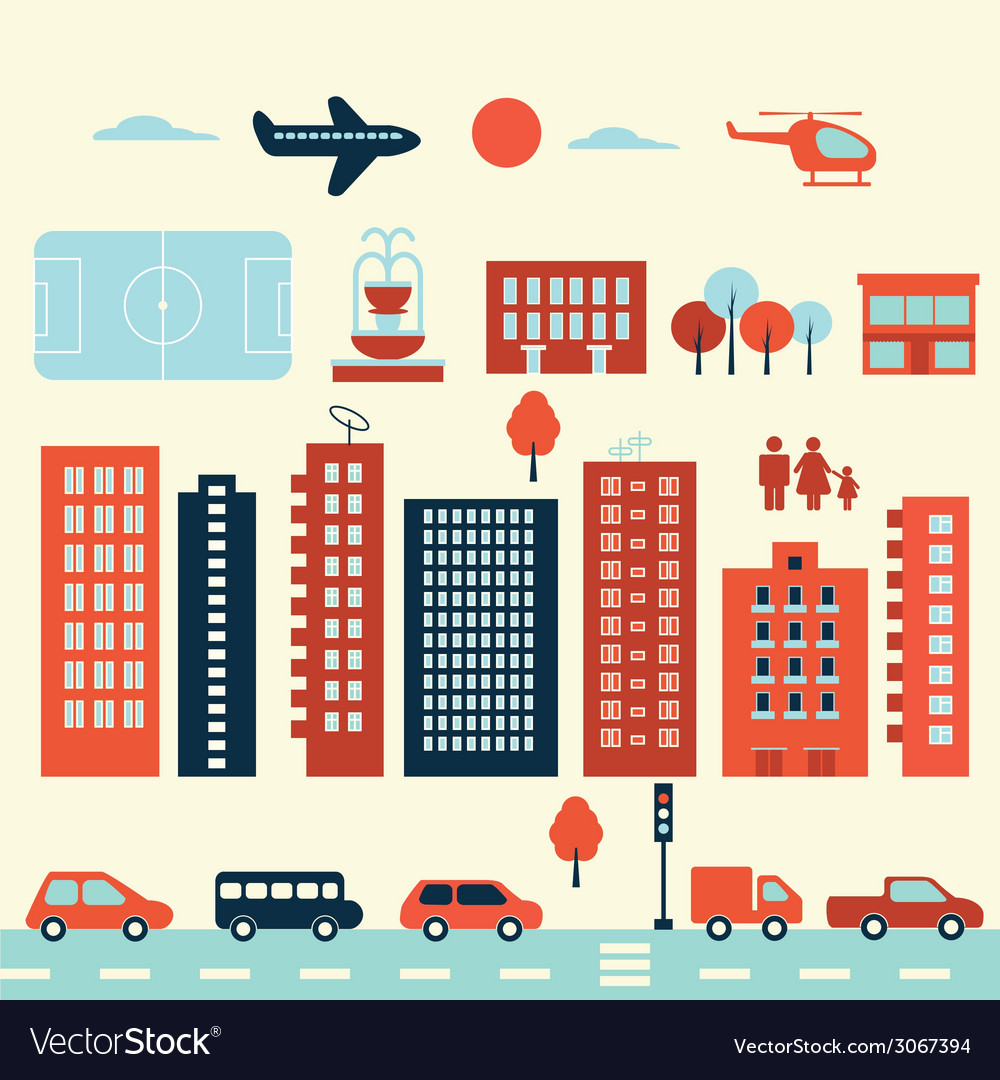 City modern elements vector | Price: 1 Credit (USD $1)