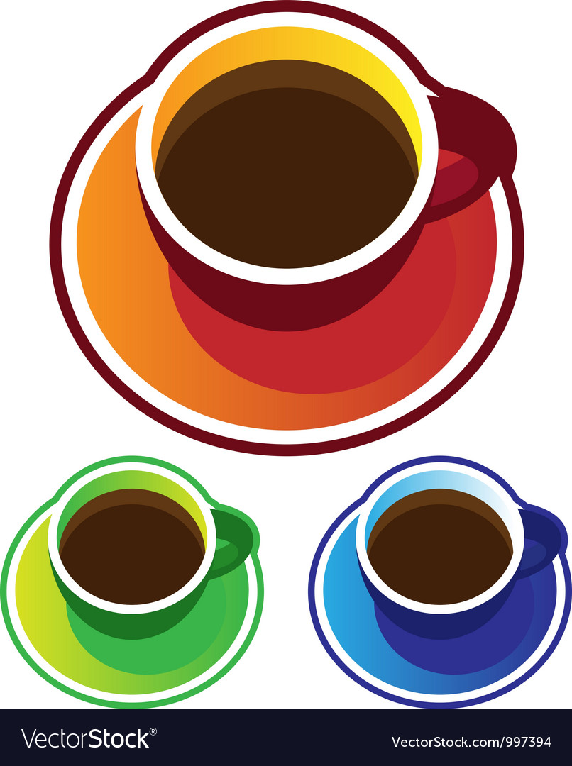 Colorful coffee cups top view vector | Price: 1 Credit (USD $1)