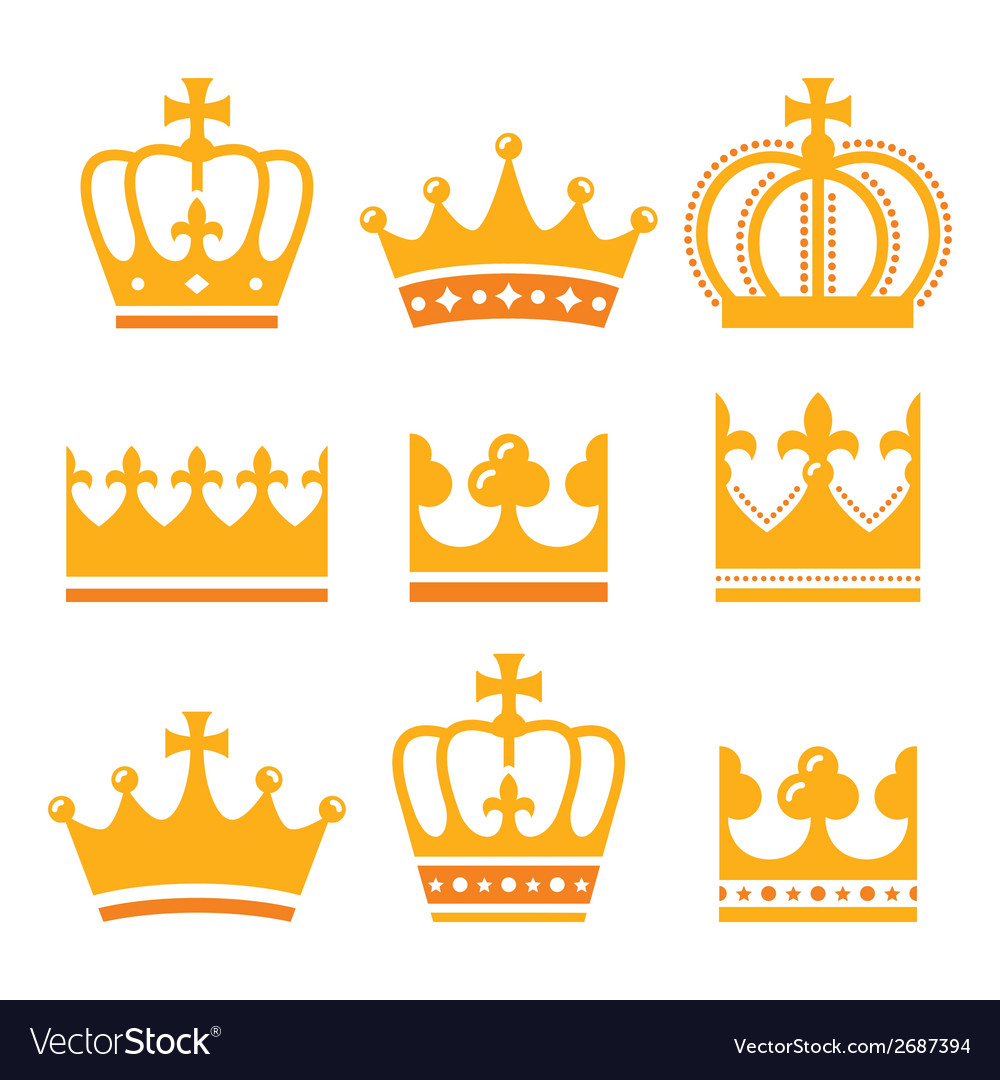 Crown royal family gold icons set vector | Price: 1 Credit (USD $1)