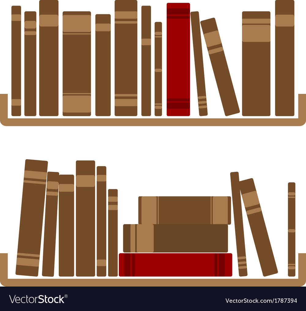 Different red books on shelf vector | Price: 1 Credit (USD $1)