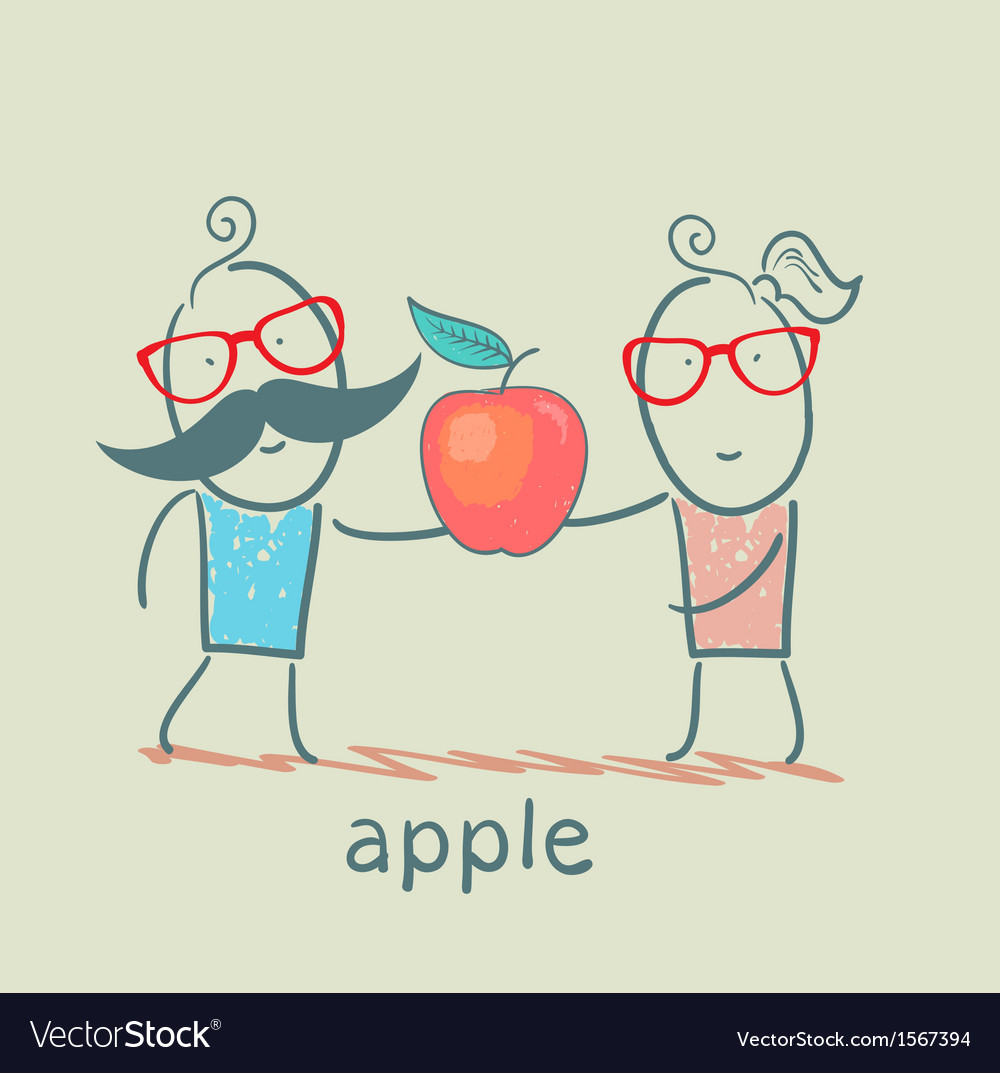 Girl and boy holding an apple vector | Price: 1 Credit (USD $1)