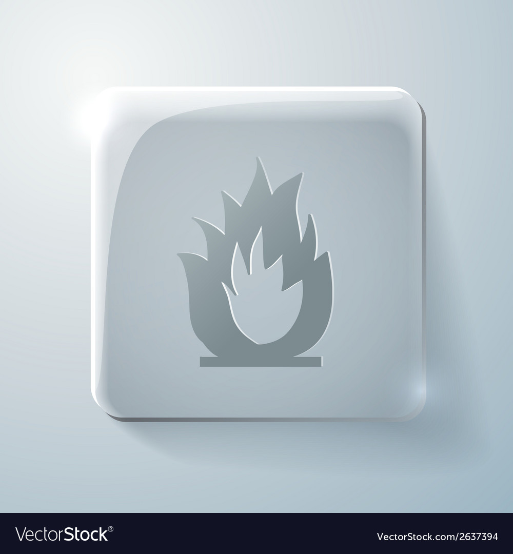 Glass square icon fire sign vector | Price: 1 Credit (USD $1)
