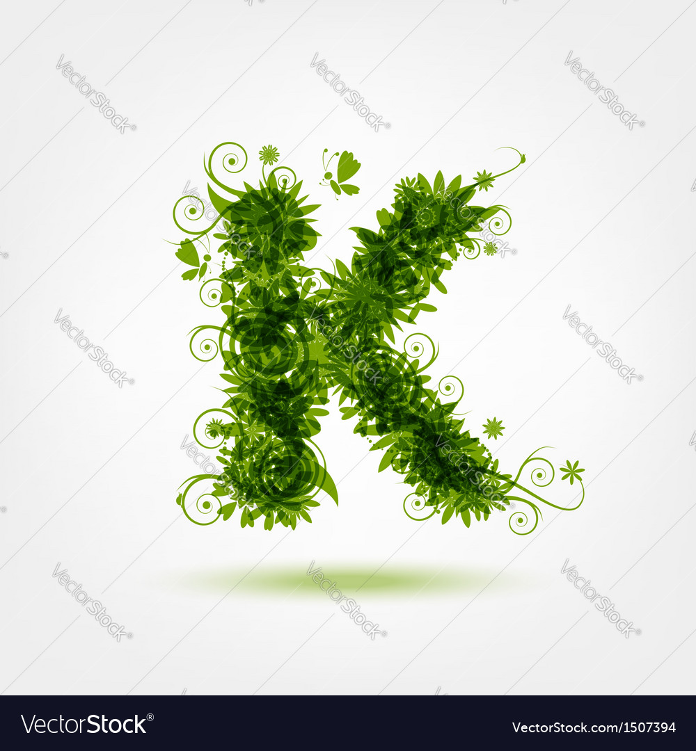 Green eco letter k for your design vector | Price: 1 Credit (USD $1)