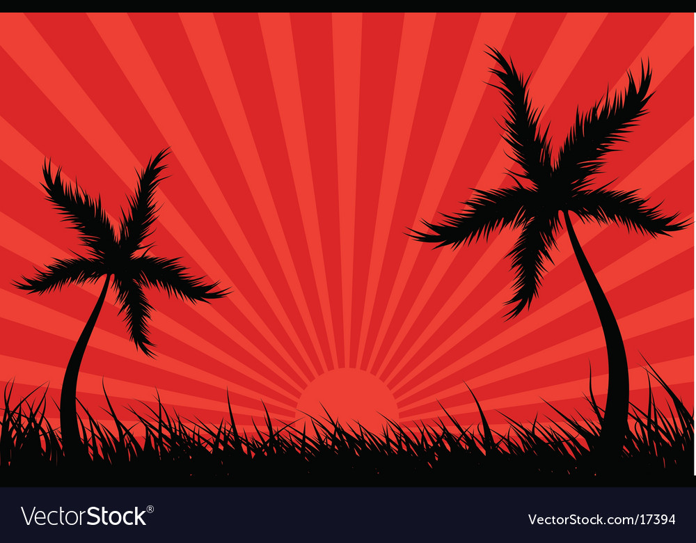 Palm tree landscape vector | Price: 1 Credit (USD $1)